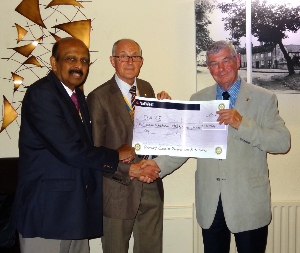 Pictured are Dr Raj Chandran who organised the event, Ravenshead and Blidworth President Mike Lee and Richard Goad of D.A.R.E.