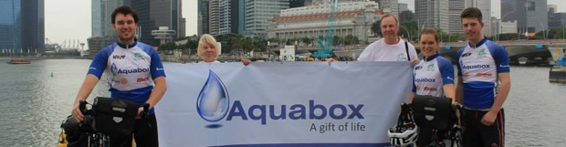 Action4Asia charity cyclists raising funds and awareness for Aquabox