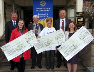 President John Roberts presents cheques (from l to r) to Lucy King, community fundraiser for Weston Park Cancer Charity, Helen Mower, head of fundraising for Bluebell Wood Children's Hospice, and Ester Preston, director of fundraising and marketing for Ashgate Hospice. Also pictured past president Stuart Bradley (left) and Tony Cordon of Autoworld