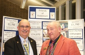 Nic Sellar Friends of Kadzinumi  with President Geoff Davis Rotary Club of Bolsover