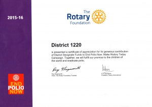 Certificate of recognition for District 1220 Foundation team
