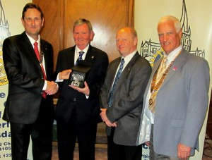 From left to right:  President Neil Baker (Chesterfield Scarsdale), past-president Stuart Bradley (Chesterfield), past-president Eric McCarrison (Matlock), and president Bob Adams (Clay Cross)