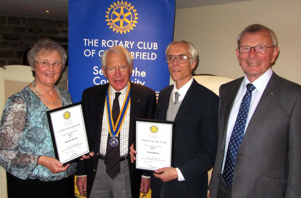 Joint president David Dolman presented special certificates to the two Citizens of the Year Award winners at the club meeting on Friday 16 October 2015. Also pictured host, past-president David Windle (right).